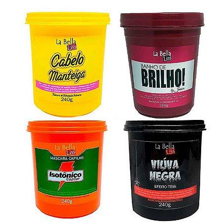 Kit Completo La Bella Liss Máscaras de Tratamento 240g (Cabelo Manteiga, Isotônico, Viúva Negra e Banho de Brilho)