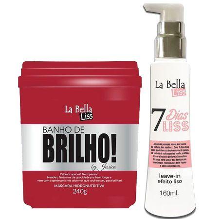 Banho de Brilho Máscara hidronutritiva 240g + Leave-in 7 Dias Liss 160ml La Bella Liss