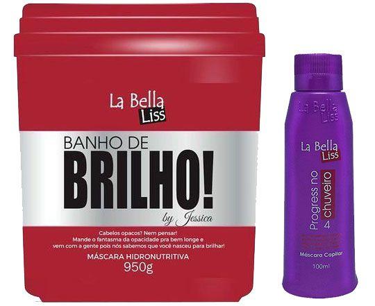 Banho de Brilho Máscara Hidronutritiva 950g + Progressiva No Chuveiro 100ml La Bella Liss