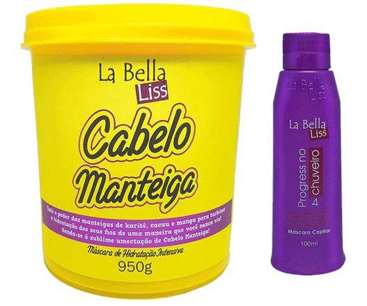 Cabelo Manteiga Máscara De Hidratação Profunda 950g + Progressiva No Chuveiro 100ml La Bella Liss