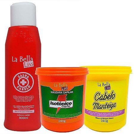 Kit Salva Cabelo SOS 300ml + Isotônico Capilar Máscara de Nutrição 240g + Cabelo Manteiga Máscara de Hidratação Profunda 240g La Bella Liss