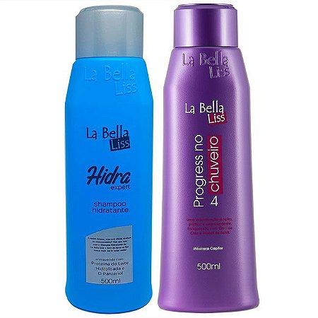 Shampoo Hidra Expert 500ml + Progressiva No Chuveiro 500ml La Bella Liss
