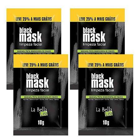 Black Mask Máscara Preta Removedora de Cravos 10G Kit Com 4 Unidades La Bella Liss