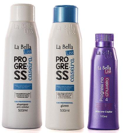Kit Progress Caseira 2x500ml - GRÁTIS 1 Progressiva no chuveiro100ml La Bella Liss