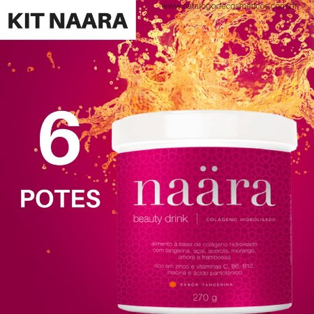 Naara Colágeno Hidrolisado JEUNESSE - 270g Tangerina  (6 Potes)