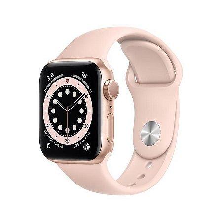 Apple Watch S6 44mm Caixa Dourada e Pulseira Rosa Esportiva
