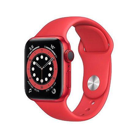 Apple Watch S6 44mm Caixa e Pulseira Esportiva Vermelha