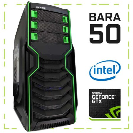 PC Gamer BARA 50 G4560 + GTX 1050 8GB DDR4 1TB 500W 80 Plus Microdigi MD-515BG