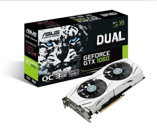 Placa de Vídeo Asus Geforce GTX 1060 OC 3Gb DDR5 192 Bits DUAL-GTX1060-O3G