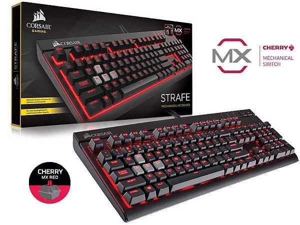 Teclado Gamer Corsair Strafe Retroiluminacao Vermelha Teclas Cherry Mx Red CH-9000088-BR