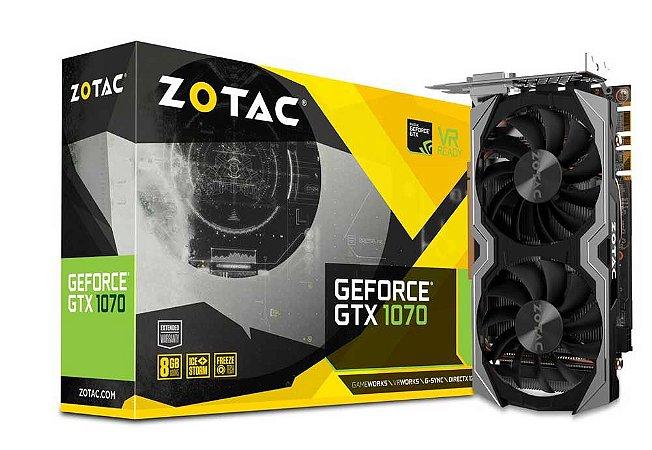 Placa de Vídeo Zotac Geforce GTX 1070 8Gb Mini DDR5 256Bits ZT-P10700G-10M
