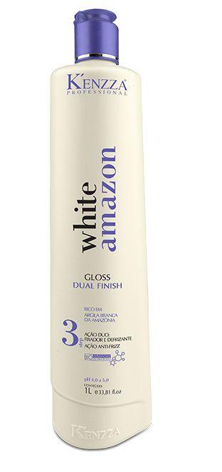 KENZZA GLOSS DUAL FINISH - Fixador e Desfrizante White Amazon 1 litro