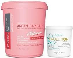 BOTOX PLATINUM ARGAN FOR BEAUTY 1KG E EVOLUTION MÁSCARA 250G