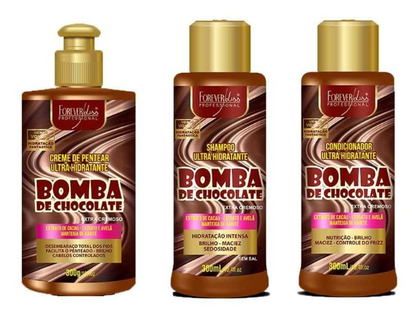 kit Shampoo + Condicionador + Creme de pentear Bomba de Chocolate 300ml