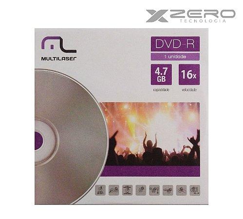 DVD-R 16x | 4.7GB | Envelope Unitário Multilaser - DV018