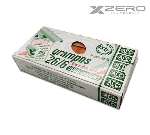 Grampos 26/6 caixa c/ 5000 Unidades Tipo Cobreados ACC