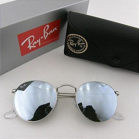e52ffcab9 Ray Ban Round Prata RB3447 - Raffa Modas