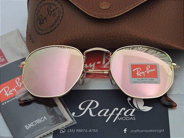 Oculos Ray Ban Hexagonal Rosa RB3548 - Raffa Modas 00ed2f8f08