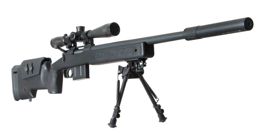 RIFLE SNIPER AIRSOFT MCM700X MSR-016 ARES - SPRING POWER - Black