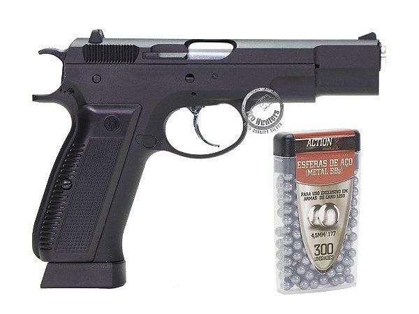 PISTOLA 4.5mm  ESFERAS DE AÇO - CZ 75 KP-09 - KJW - KJWORKS - CO2 - GAS BLOW BACK (GBB)
