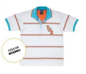 8583ae43f6 Camisa Polo Branca Listrada Laranja Tigor T. Tigre - Nanda Baby