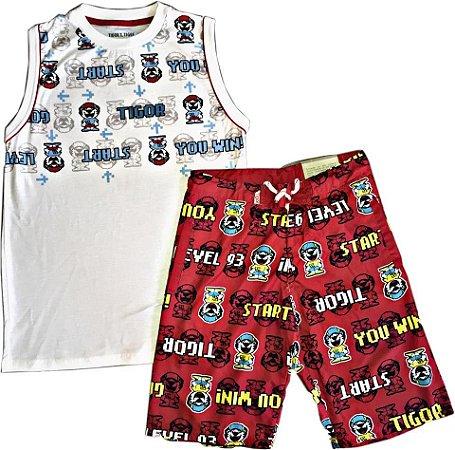 Conjunto Infantil Tigor T Tigre Camiseta Regata e Bermuda Masculino ... 8ab4759479f