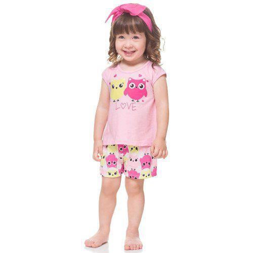 fe64cc6f4 Pijama Infantil Feminino Blusa + Short Kyly - Nanda Baby
