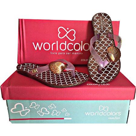 e9b4441b5c Chinelo infantil menina bronze concha World Colors - Nanda Baby