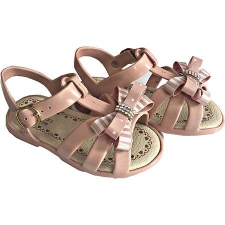 3f8eccb1fb Sandalia infantil menina rosé   nude World Colors - Nanda Baby