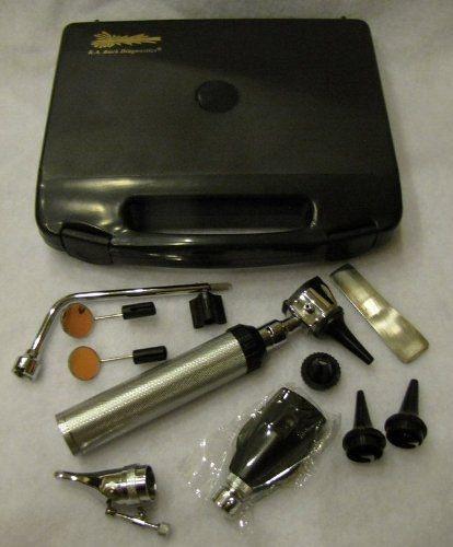 ENT (Ouvido e garganta) Otoscopio/  Oftamoloscópio Kit com case dura.