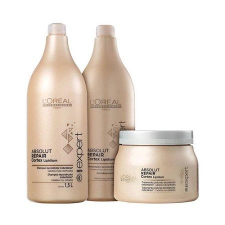 06479d540 Loréal Absolut Repair Shampoo 1,5l + Condicionador 1,5l + Máscara ...