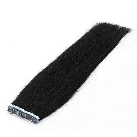 Mega Hair Fita Adesiva Castanho Liso Natural 70cm 10 Peças