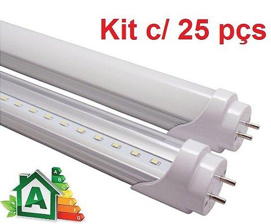 Kit c/ 25 Lâmpadas LED Tubular T8 10W Platinum - 60cm