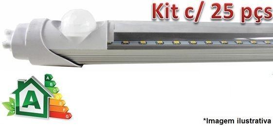 Kit c/ 25 Lâmpadas LED Tubular T8 18W c/ Sensor de Presença - 120cm