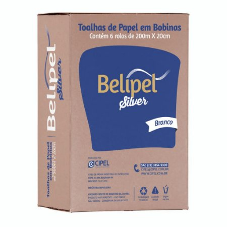 TOALHA BOBINA BELIPEL SILVER BR II C/ 06 ROLOS  X 20CM  x 200 METROS - LX