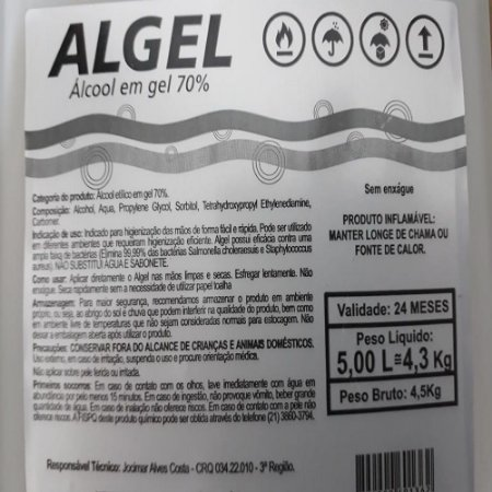 TEX ALCOOL GEL ALGEL 70% 05 LITROS