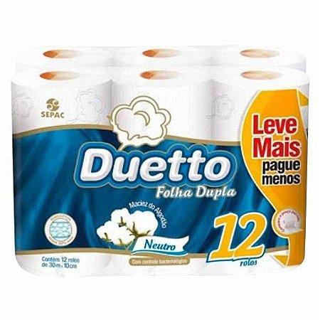 PAPEL HIGIENICO  FOLHA DUPLA DUETTO 12 ROLOS 30 METROS