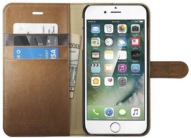 Capa couro Spigen Wallet Apple iPhone 7 PLUS Capinha Carteira Marrom