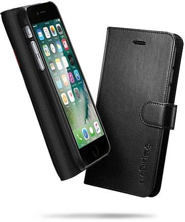 Capa couro Spigen Wallet Apple iPhone 7 Capinha Carteira Preto