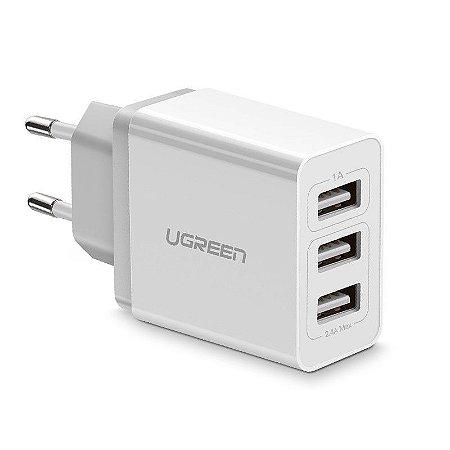 CARREGADOR DE PAREDE UGREEN 15W 3 PORTAS USB 3.1A ED013 - BRANCO
