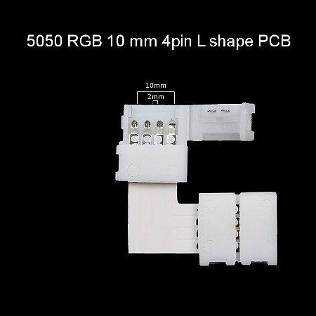 Conector Emenda Para Fita Led RGB 5050/3528 Tipo L - (10mm de largura) - Sem Solda