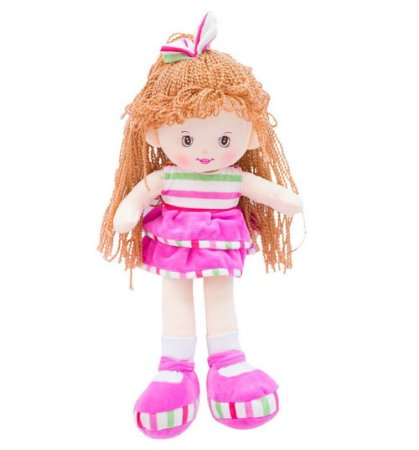 Boneca Pelúcia Laço Cabelo Saia Pink 40cm