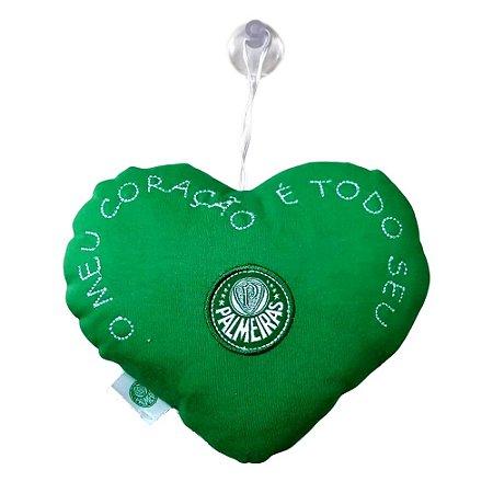 Coração de Pelúcia com Ventosa Palmeiras 17cm Oficial