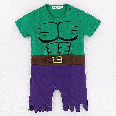 Macacão Hulk Bebê Manga Curta
