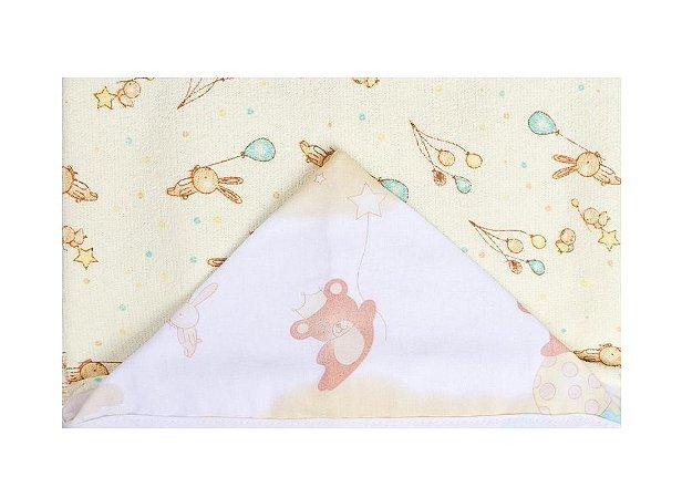 Toalha De Banho Felpuda C/ Capuz Estampado Urso Papi