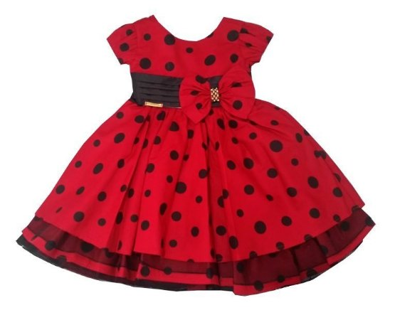 Vestido Infantil Minnie Vermelho/Preto Laço