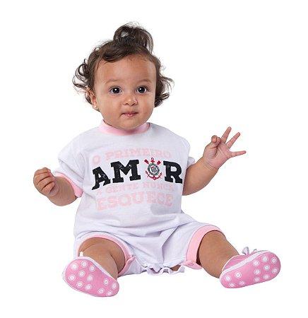 Macacão Bebê Corinthians Primeiro Amor Rosa Oficial