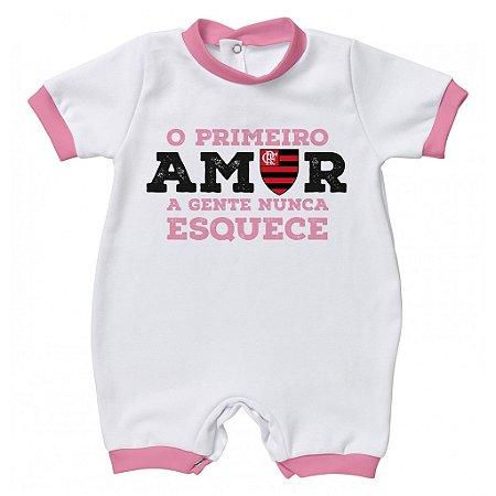 Macacão Flamengo Primeiro Amor Rosa - Torcida Baby