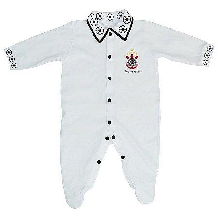 Macacão Longo Corinthians Bebê Bolinhas - Torcida Baby