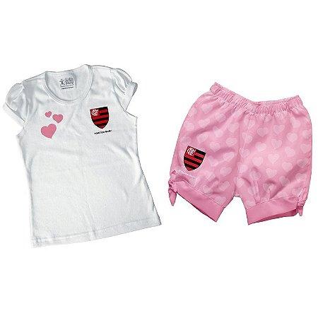 Conjunto Bebê Flamengo Rosa Oficial - Torcida Baby
